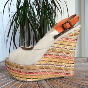 Used Shoe Dazzle Multicolor Weaved Wedge Sandals